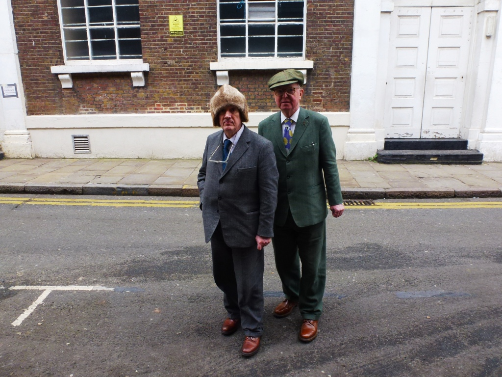 Gilbert and George in Fournier Street, residents of nearby Wilkes Street