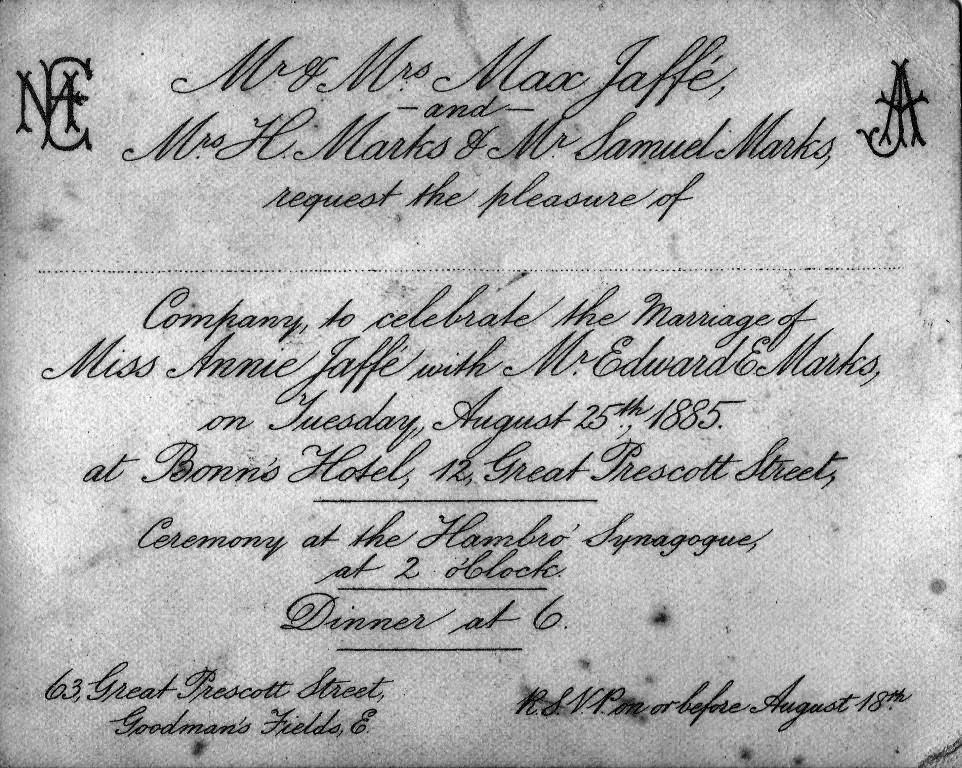 I found this wedding invitation in my late mother-in-laws box of photos.  The wedding was held at Bonn's Hotel on the 25th August, 1885.
