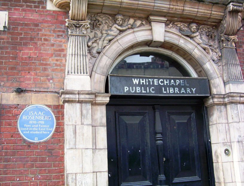 Isaac Rosenberg plaque on the Whitechapel Library - the University of the Ghetto
