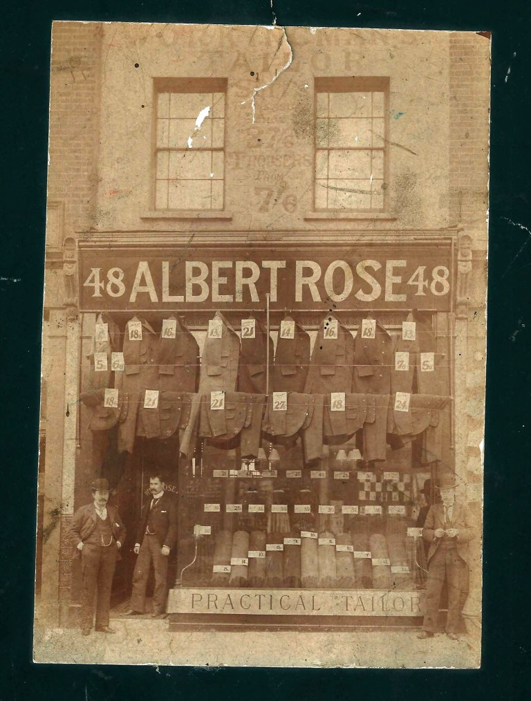 Albert Rose tailors, Commercial Road, later Pollock Tailors where it traded until 1996