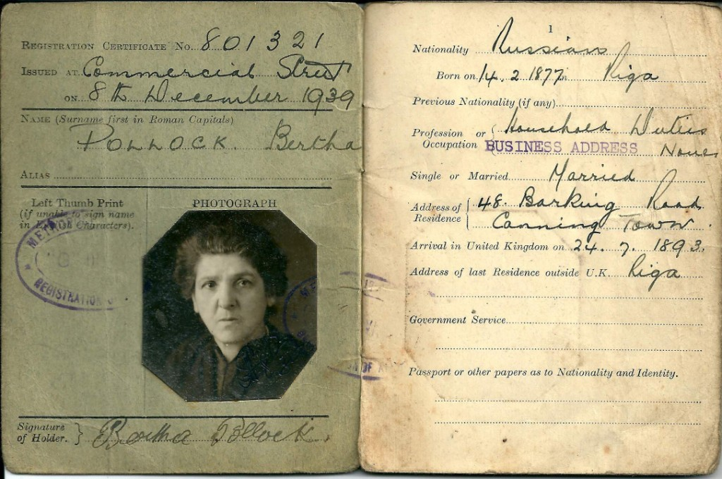 Valerie's grandmother Bertha's British registration document